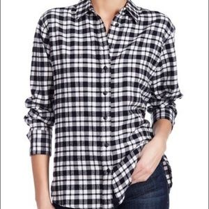 Madewell Black and White Plaid Flannel Shirt